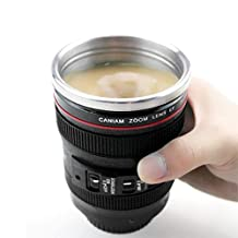 Happy Hours® Stainless Steel Insulated Self Stirring Mug Office Coffee Tea Cup Mug Tumbler 300ML With Lid Replica of Canon 24-105 Lens Perfect Gift For Your Camera Enthusiast, Superhero, Sports Fan or Anyone