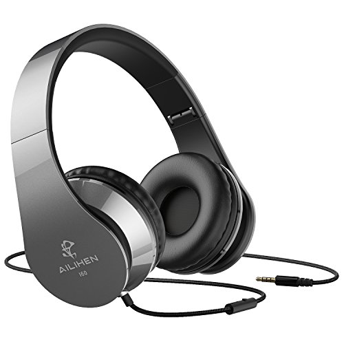 AILIHEN Wired Headphones with Microphone, Stereo Foldable Lightweight On Ear Headset for iOS Android Smartphone Cellphones Laptop Tablet PC Computer (Grey)