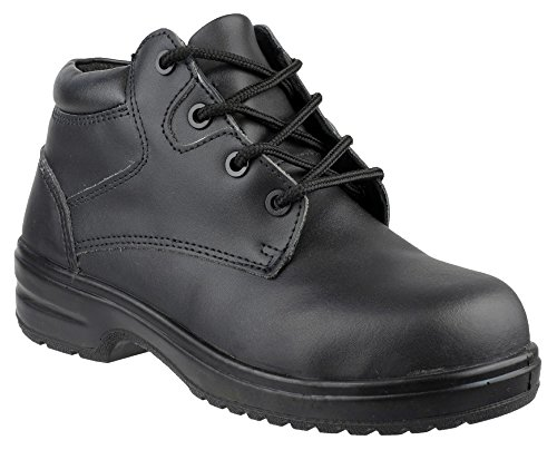 Womens Ladies Safety Boots / Black Composite Metal Free Laced Work Amblers