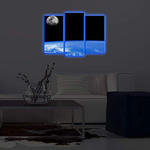 LaModaHome Blue LED Lighted Wall Art, Infinite Space View The Galaxy, Moon,  Stars and The World, Canvas Battery Powered (not Cord) Wooden Frame