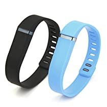 Henoda Multi Colors Replacement Wristband for Fitbit Flex Bracelet Bands Activity Tracker with Clasps (Black + Sky Blue, Small)