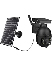 INQMEGA Solar Camera Outdoor,Wireless WiFi Pan Tilt 18000mAh Rechargeable Battery Powered Motion Detection Camera, Color Night Vision,2.4G WiFi,1080P FHD Cloud/Sd Slot Storage