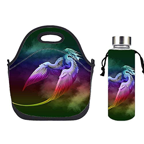 Dragon Phoenix Rainbow Lunch Bag Portable Bento Pouch Lunchbox Bag Baby Satchel Handbag for Student Worker Travel Mom Tote - Hot Gift