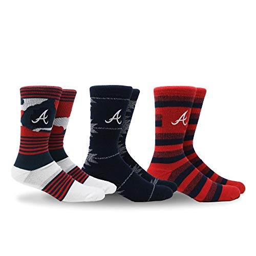 PKWY by Stance MLB Men's Clubhouse Collection 3-Pack Socks (Large, Atlanta Braves) Atlanta Braves Ladies Player