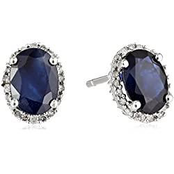 10K White Gold Natural Blue Sapphire Oval with Diamond Stud Earrings (1/10 cttw)