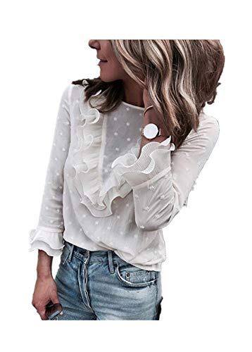 (Verypoppa Women's Pullover Blouse Top Ladies Sheer Ruffles Lace Shirt (White (Prime), US 4/6))