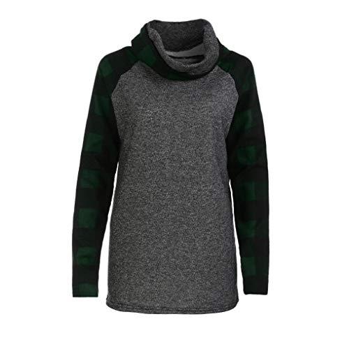 Fnkdor Pour À Sweat Roulé Carreaux Tunique Manches Chemises Col Vert Longues Hauts shirt Femme TrIqfr
