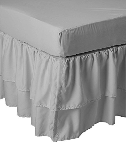 American Baby Double Layer Ruffled Crib Skirt and Ultra Soft Microfiber Fitted Crib Sheet Bundle, Gray