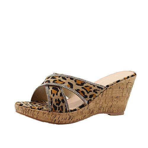 f1a6650454b Partie Tan Taille Plateforme Sandales Mi Mesdames Léopard 41 Chaussures  Diamante D été Femmes Compensées Toe ...
