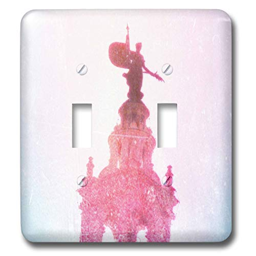 3dRose Cassie Peters Kansas City - Plaza Watch, Statue in Pink Digital Art - Light Switch Covers - double toggle switch (lsp_288452_2)