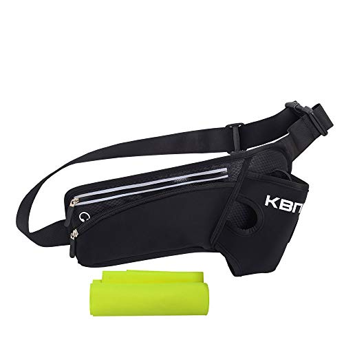 KBNI Running Belt Waist Bag with Large 20oz Water Bottle Holders for Running Hiking Cycling Climbing, Adjustable belt for Men & Women, Large Zipper Pocket Fits iPhone & Android Phones (Black)