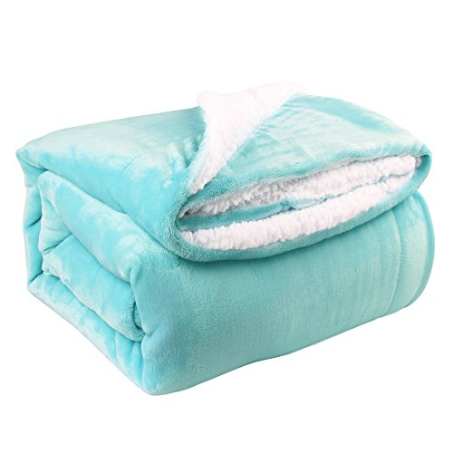 "HoroM Sherpa Throw Blanket Light Blue 60""x80"" Reversible Mic"
