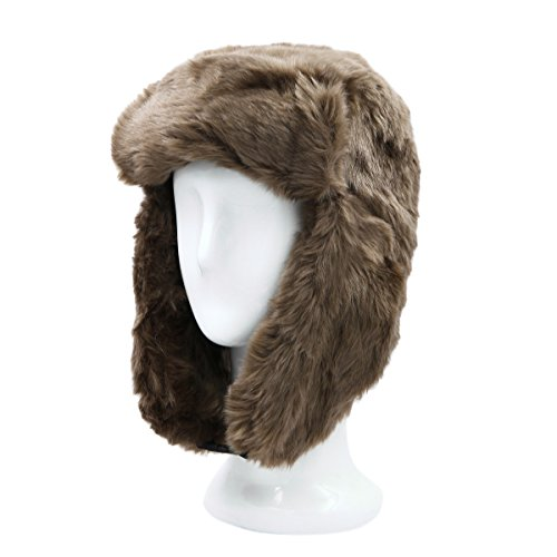 Warm Winter Solid Color Faux Fur Trapper Ski Snowboard Hunter Bomber Hat, Tan