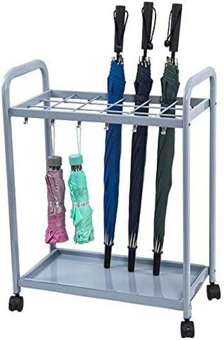YLLN Umbrella Umbrella Stands Metall-Umbrella Stand Trolley, freistehender Umbrella Holder Rack für den Home Office-Eingang, mit Tropfschale und Haken, 12 Haken mit 8 Schlitzen