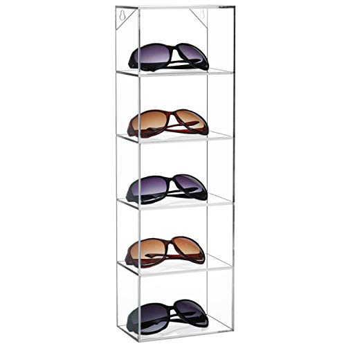 Modern Clear Acrylic Wall Mounted Storage Organizer Rack / 5 Shelf Sunglasses Eyewear Display Case