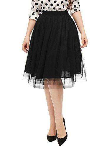 Top Allegra K Women's Elastic Waist Allover Pleats A-Line Tulle Skirt free shipping