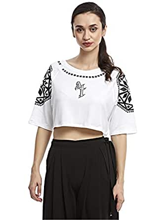 Afterlife White Round Neck Crop Top For Women