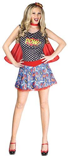 FunWorld UHC Comic Book Cutie Outfit Superhero Theme Party Womens Fancy Costume, M/L (10-14)