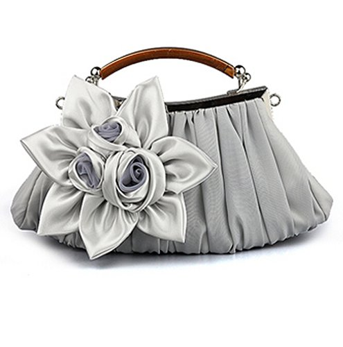 E-TDPAC Large Flower Decoration Stain Party Clutch-Evening Bags (Silver) ()