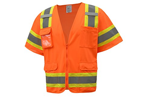 CJ Safety CJHVSV3002 ANSI Class 3 Two-Tone Heavy Duty Surveyor Safety Vest Solid front and Mesh Back, Medium, Orange
