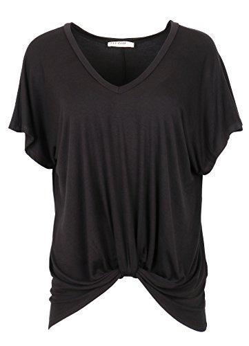 ZIP CODE Front Knot V-Neck Blouse Short Sleeve (Large, Black)