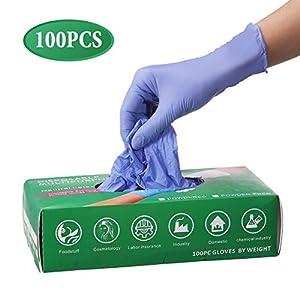 Slimerence Guantes médicos desechables de nitrilo, sin polvo, alimentos estructurados, industria química doméstica, caja azul de 100 6