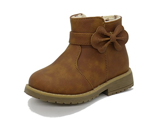 Blue Berry EASY21 Girls Zip Mid Calf Motorcycle Toddler/Infant Winter Boots WARM-14F,Tan,Size 8