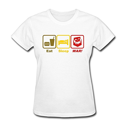 GGifKCU Eat Sleep War 3c Tee Shirts For Woman XS White by GGifKCU