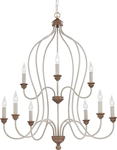 (Feiss F2999/9CHKW/BW Hartsville Farmhouse Candle Chandelier Lighting, White, 9-Light (31