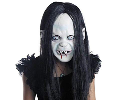 CycleMore Halloween Ghost Mask Horror Grimace Latex Mask Scary Zombie Emulsion Skin with Hair Creepy Toothy Zombie Ghost Mask Costume Party Cosplay Halloween Mask