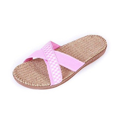 Slip On Zapatillas Puntera Abierta unisex sandalias de mulas absorbe la humedad de lino zapatos zapatillas de interior o al aire libre para adultos Rosado