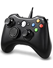 OKHAHA Wired Controller Compatible with Microsoft Xbox 360 / Xbox 360 Slim/PC Windows 10/8/7, Double Shock   Enhanced, Wired Controller for Xbox 360 with Upgraded Joystick (Black)