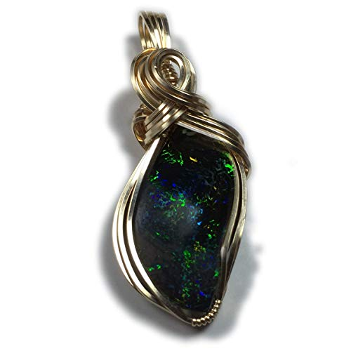 Australian Boulder Opal - Rocks2Rings Australian Boulder Opal Solid - Black Matrix, Jewelry Pendant, 14K Gold Filled, with Black Leather Necklace, Elegant Gift Box, Exact Gem in Picture, 155 ZP