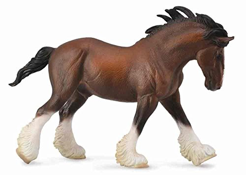 Coal Realistic Loads - Collecta Horses Bay Clydesdale Stallion Vinyl Toy Animal Figure