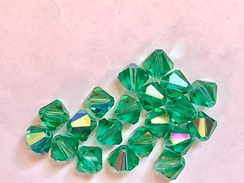 (Perfect and Stunning Beads - 12 Vintage Crystals - Discontinued Art 5301-8 mm - Awesome Color Light Emerald)