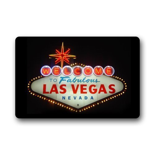 SPXUBZ Welcome to Las Vegas Casinos Picture Bright Neon Lights Non Slip Entrance Rug Outdoor/Indoor Durable and Waterproof Machine Washable Door Mat Size:18x30 inch ()