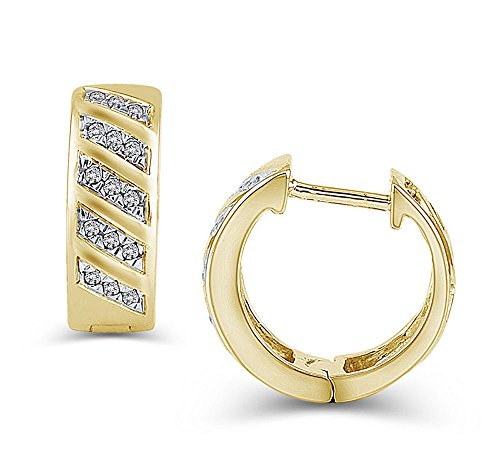 1/8 cttw Diamond Multi-Row Hinged Hoop Earrings in 10K Gold (IJ/I2-I3) ()