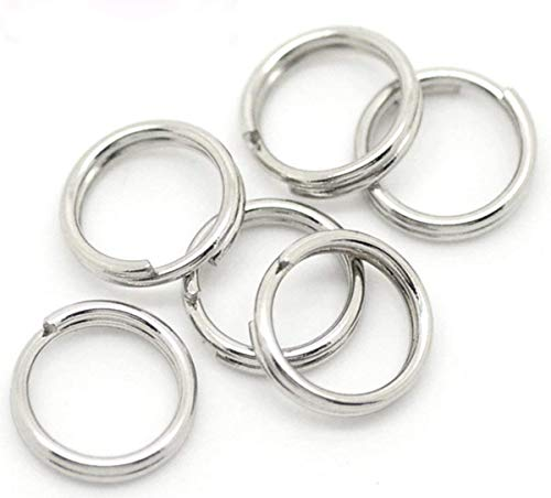 (Sterling Silver Split Rings, 10Pcs 9mm)