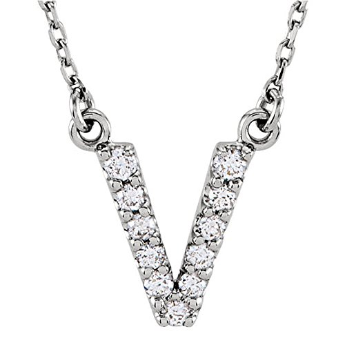 Dazzlingrock Collection 0.12 Carat (ctw) 14K Diamond Uppercase Letter V Initial Pendant (Silver Chain Included), White ()
