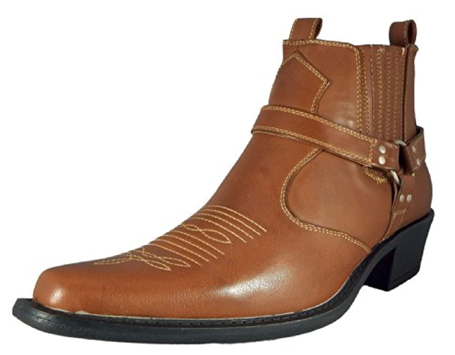 us brass cowboy boots in tan brown and black (6, tan)
