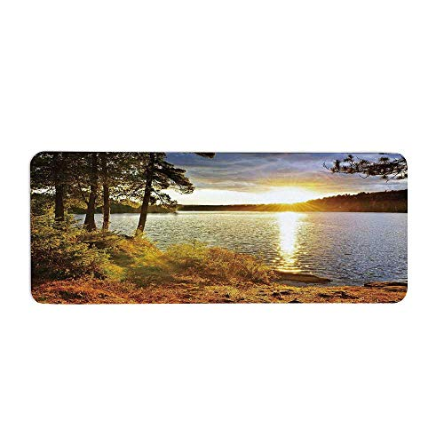 TecBillion Landscape Fashionable Long Door Mat,Sunset Dawn in The Forest Over Lake of Two Rivers Algonquin Park Ontario Canada for Home Office,23.6