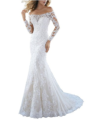 Udresses 2018 Off Shoulder Lace Mermaid Wedding Dress for Bride Long Sleeve UWD50 White 10