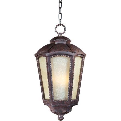 Maxim Lighting 85497TLML One Light Mottled Leather Tawny Linen Glass Hanging Lantern, Bronze