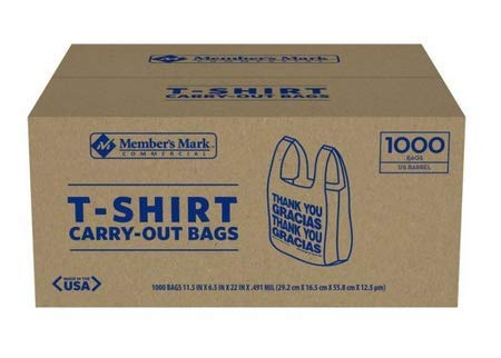 1000 T-Shirt Thank You Carry Out Retail Plastic Bags Recyclable Grocery Shopping