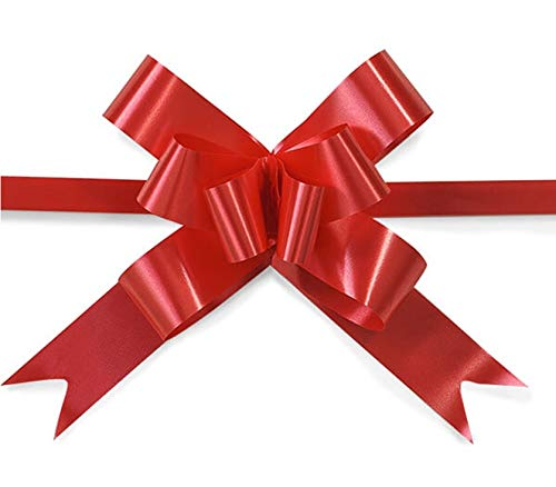 Red Gift Wraps SHATCHI 30mm//3cm Large Ribbon Pull Bows for Party Wall Wedding Birthday Hampers Decoration Florist Pullbows 10Pk Christmas Trees