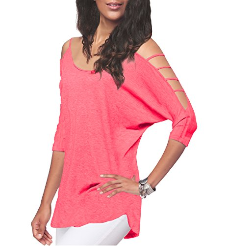 Women's Off Shoulder Shirt Half Sleeve Tunic Top Casual Blouse (XXL, Pink) ()