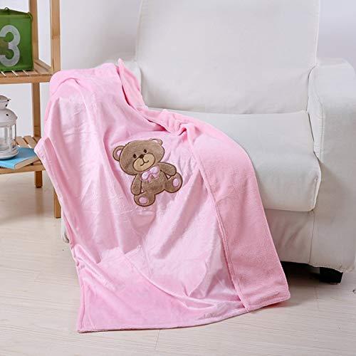 Teddy Bear Throw Blanket for Baby Girl Bedding Pink Fleece Plush 40