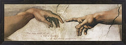 The Creation of Adam (detail) by Michelangelo Buonarroti Framed Art Print Wall Picture, Espresso Brown Frame, 38 x 14 inches - Michelangelo Buonarroti Creation Of Adam