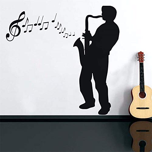 Dtcrzj Silhouette Saxophone Player Girl Boy Child Room Living Room Decoration PVC Waterproof Wall Sticker DIY Mural Decal 58Cm X 87Cm