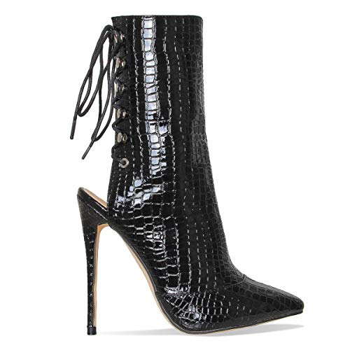 Pointed High Heel Stiletto (Hell&Heel Black Lace Up Pointed Toe Stiletto Ankle Mid-Calf High Heel Boots US 10/EU 41/UK 8)
